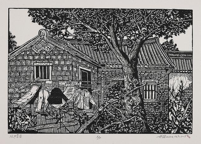 风中旧屋(黑白) / 木刻版画